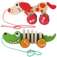 Crianças de madeira Arraste Dog Crocodile Toy Toy Educacional Torcendo Brinquedos Crianças animal dos desenhos animados clássicos do bebê Twisting Puzzles Car
