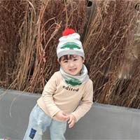 어린이 뜨개질 크리스마스 모자 6 색 줄무늬 크리스마스 트리 패턴 따뜻한 모자 겨울 야외 아기 스키 모자 아이 폼은 폼은 도매 BJY993을 비니