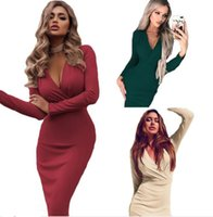 fashion dress Women Casual V- neck Flare Sleeve Package Hip B...