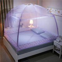Rund Geschehen Moskitonetz für Erwachsene Drei Tür Canopy Netting für Prinzessin Bett Zipper Bett-Überdachung Students Mesh-Bett-Zelt VT0149