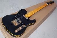 الغيتار مخصص أسود غير لامع كهربائي المذيع الأصفر ملزم روز فلويد جسر اهتزاز خمر الأصفر الأصابع دوت البطانة الأسود Pickguard ل