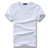 V-Neck Polyester Hommes T-shirts T-shirts Camiseta Masculina Casual Male Fashion CINTREE été manches courtes col V T-shirts Hombre tendance