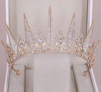 رائعة الأميرة تيجان الزفاف الكبيرة الزفاف العرسان أغطية الرأس تياراس النساء الفضة المعادن الكريستال أغطية الرأس الأوروبية اكسسوارات الزفاف
