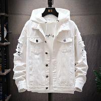 남성 재킷 구멍 소매 트렌드 남성 의류 가을과 겨울 패션 클래식 레트로 데님 재킷 찢어진 대형 크기 M-3XL