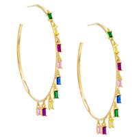 All'ingrosso-Circle Hoop oro piena di fascino arcobaleno baguette cz verde cz donne Boemia Bohe orecchino splendido