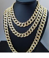 Whosale 16inch 18inch 20inch 22inch 24inch 26inch 28inch 30inch Glacé strass Or Argent Miami Cuban Chain Link Men Hiphop Collier