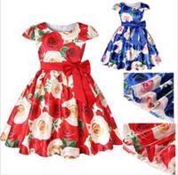 5738490daf4 New Arrival. Flower Printed Dress Kids Big Bow Ribbon Sash Short Sleeve  Princess Wedding Dresses for Little Girls High Grade Children Clothing