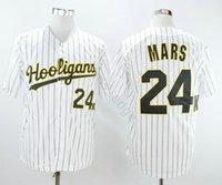 Großhandel Bruno Mars 24k Hooligans Weiße Nadelstreifen Baseball Trikots Nähed Movie Bruno Mars 24k Hooligans Baseball Jersey Shirt