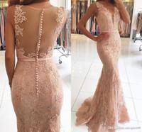 Setwell mit V-Ausschnitt Illusion SpitzeAppliques wulstige Abendkleider Erröten Rosa Nixe-langes Abendkleider nach Maß bodenlangen Abendkleid