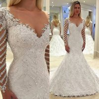 New Lace Mermaid Wedding Dresses Sexy Sheer Backless Appliqu...