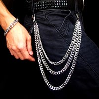 Cadeia Punk prata Multilayer masculino do metal em calças hip hop jeans Cadeia Homens Mulheres pant Carteira Gothic Rock Belt