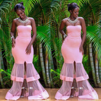 2020 african special tulle train design mermaid Evening Dres...