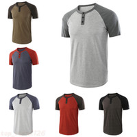 Fashion Men Short Sleeve Pullover Crew Neck Button T- shirts ...