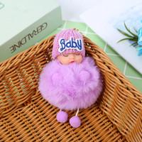귀여운 잠자는 아기 인형 키 체인 응원 토끼 모피 볼 카라비너 열쇠 고리 열쇠 고리 여성 키즈 키 홀더 가방 펜던트 키 링 RRA2830-8