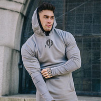 Salles de sport à capuche fitness Bodybuilding à manches longues Sweats à capuche homme solide Sling Sweat-shirt Homme Coton sport Workout shirt