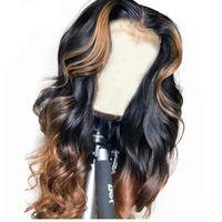 Highlights Полные кружева человеческие волосы парики для волос тела волнистые омбре кружева фронт парик бразильские девственницы человеческие волосы предварительно сорванные натуральные волосы на 150% плотность