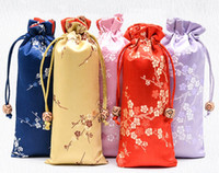Alongar retalhos das flores de cerejeira do presente sacos de cordão de cetim de seda Jóias Colar Pouch Ox Horns Comb Trinket armazenamento bolso 8x18 cm