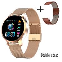 Aço Inoxidável Q9 Smart Watch Sms à prova d 'água Lembrete SmartWatch Men Monitor Forma Fitness Tracker PK Q8 Q1 CF08 P70