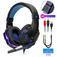 컴퓨터 PS4 조정베이스 스테레오 PC 게이머 이상 귀 유선 헤드셋과 마이크 선물에 대한 전문 Led 빛 게임 헤드폰 (소매)