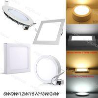 Downlights Ultra mince Surface encastrée LED Plafond Downlight 12W 15W 18W Panneau carré rond Lampe d'éclairage intérieur DHL