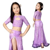 무대 착용 2pcs 세트 어린이 댄스 의류 배꼽 양복 여자 연습 의상 아이 공연 의류