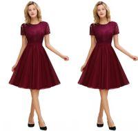 Elegante manga corta borgoña vestidos de casero vestidos con cinturón dulce gasa vestidos de graduación corto Vestido Curto CPS1324