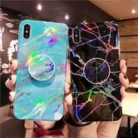 Brillante TPU cubierta del sostenedor Grip caso del soporte para el iPhone Mármol 12 11 XS Pro Max Samsung Galaxy Note 20 S20 S10 FE Plus