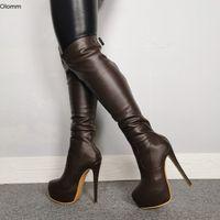 Rontic Women Platforma na kolanach High Boots Sexy wysokie obcasy Buty Round Toe Charm Brown Party Shoes Women Plus US Rozmiar 5-15