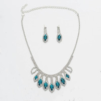 gota de agua aretes de piedras preciosas collar conjunto de joyas diseñador de lujo azul púrpura colorido pavo real azul collares de diamantes gema joyería de la boda