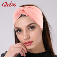 Geebro Women' s Plain Turban Headbands Twist Elastic Str...