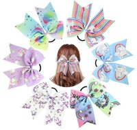 12 цветов Мода Детские Rope Bowknot Unicorn Сердце звезды печати Hairbands девушки аксессуары для волос Лук Мультфильм дети луки ободки A47