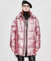 Pembe Cazevar Uzun kadın aşağı hoody Beyaz ördek aşağı uzun palto ile doldurun ceketler for sale