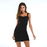 2019 Sommar Sexig Casual Knit Suspender Vest Dress Wood Ear Slim Bag Hip Kjol Enstegs kjol för damer