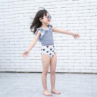 아기 소녀 폴카 도트 분할 비키니 수영복 여름 사랑 듣고 활 키즈 슬링 수영복 귀여운 어린이 스파 수영복 C6238