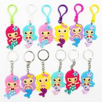 Mermaid Clé Chaînes PVC Keychain PVC Cartoon Mignon KeyRing pour Femmes Filles Enfants Bague porte-clés