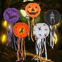 랜턴 어린이 장난감 ZX BH2059 매달려 할로윈 LED 호박 종이 램프 거미 해골 성 패턴 빛 할로윈 장식 소품 호박