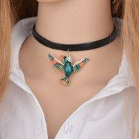 Accessoires Vintage femmes Colliers Pendentifs strass Parrot oiseaux cuir Collier ras du cou Déclaration Bijoux N926