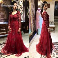 2020 Red V Neck Evening Dress Appliques Long Sleeves Floor Length Luxury Arabic Sexy Prom Dresses robes de soirée