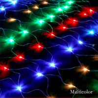 أضواء صافي LED كبيرة الحجم في عيد الميلاد 8mx10m / 6m * 4m / 3mx3m / 1.5x1.5m / 3 * 2m / 4mx1.5m إضاءة احتفالات 4 ألوان أضواء ستارة داخلية وخارجية