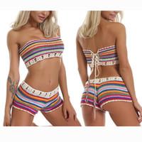 Cours de deux pièces Femmes Sexy Bohemian Rainbow Crochet à la main Bikini tricoté Bikini cordon à lacets à lacets Bandeau Tube Tube Top Tows Beach Maillot de bain