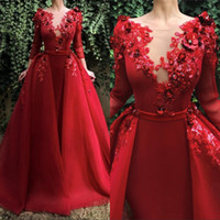 Vintage Red Mermaid Evening Formal Dress with Detachable Train Beading Appliqued Crystals Long Sleeve Prom Gowns Robe de soiree