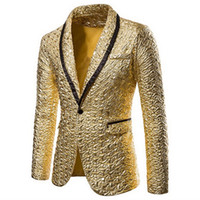 Shiny Gold Sequin Glitter Embellished Blazer Jacket Men Nigh...