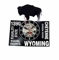 Wyoming Art USA States City Vinyl Record Horloge Décoration murale Moderne Vintage Chambre-cadeau Vintage