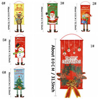 6 Estilos bandera ciervos de la Navidad del muñeco de nieve de dibujos animados de Santa Claus Imprimir Ventana colgar de la pared del partido de Navidad Banner decoración del hogar Jardín Bandera DBC VT1124
