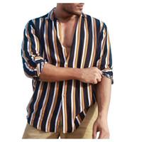 Taste nach oben Männer Langarm-Shirt Art und Weisestreifen Menshemden beiläufige dünne Sitz-Baumwollleinen Herbst d91019