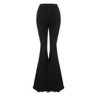 Bodycon das mulheres denim de cintura alta queimado calças jeans mulheres calças de pernas largas trecho do vintage chifre jeans preto para senhoras