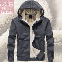 Chaquetas para hombres Hombres Cortavientos Fleece Chaqueta Outwear Abrigo de invierno 6XL 7XL 8XL Sudaderas con capucha de piel Soild Color StreeRwear Tactical Soft Shell