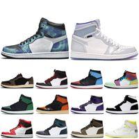 Batik 1 1s Erkekler Basketbol ayakkabıları Mahkeme Mor UNC çevirin Chicago Saten Yılan Erkekler Spor Eğitmenler Sneakers 5,5-12 Bred Shattered