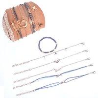 6pcs / set Carta Woven Fashion Bohemian pulseira Alloy Pentagrama Lua pulseiras Mulheres Meninas jóias de luxo Presente de Natal