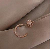 S1338 Fashion Jewelry S925 Silver Post Moon Star Pendientes Rhinstone Moon Star Star Asimétrico Stud Pendientes